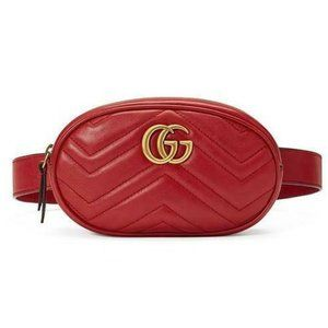 Gucci Belt Marmont Gg Small Matelasse Leather Red
